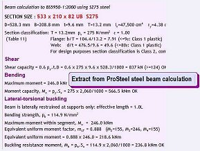 ProSteel steel beam calculation