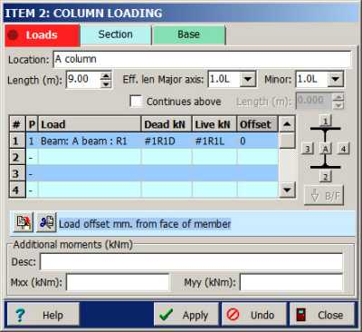 Steel column dialog load page